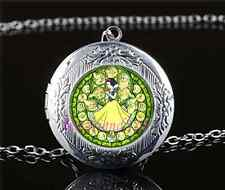 Snow White Stained Cabochon Glass Tibet Silver Locket Pendant Necklace