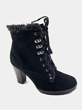 BLONDO Lili Boot NIB Suede Leather Waterproof Lace Up Heel Bootie BLACK 9.5
