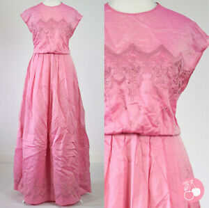 PINK SILK & COTTON BLEND, EMBROIDERED 1980s VINTAGE BOHO LAYERED MAXI DRESS 12