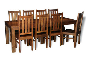 DINING ROOM FURNITURE DAKOTA DARK 220CM DINING TABLE&8 DAKOTA CHAIRS (16N&821N)