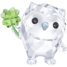 Swarovski Crystal Owl W/Clover Figurine Hoot- I'M So Lucky -5270265 New