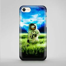 Moon Man Stand Earth Green Grass Blue Sky Clouds Phone Case Cover