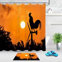 Sunset Chicken Shadow Waterproof Fabric180cm Shower Curtain Liner & 12 Hooks