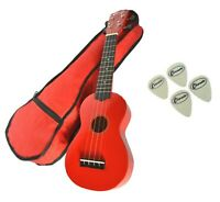 Soprano Beginners Ukulele Free Gig Bag, 4 Felt Picks in Red by Clearwater