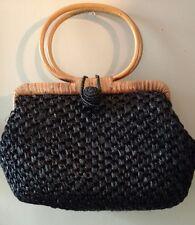 Vintage Japan Black Raffia Straw Handbag Purse With Rattan Handles