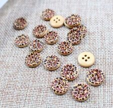 "Lot of 10 LEOPARD PRINT 4-hole Wood Buttons 1/2"" (13mm) Scrapbook Craft (017)"