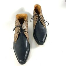 John Fluevog Mens Ankle Boots Brown Black Leather Laces Pointed Toe 11