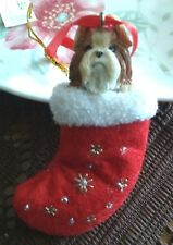 Dog Ornament Shih Tsu Puppy Stocking Christmas Tree Ornament Holiday