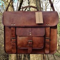 Brown vintage goat leather messenger Real satchel bag genuine laptop briefcase