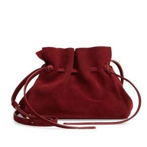 Mansur Gavriel Mini Suede Drawstring Bag Bordo Red Shoulder Crossbody Bucket Bag