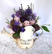 MOTHERS DAY GIFT Purple Silk Roses & Peonies in Watering Can Artificial Flowers