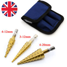 3x Step Drill Cone Set Titanium Steel Metal Hole Cutter 4-12 3-12 4-20mm + Pouch