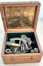Maritime nautical Sextant in wooden case 'Kelvin Hughes London 1917' vgc