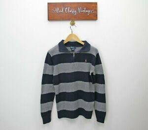 Boys Ralph Lauren Blue Grey Stripe Quarter Zip 1/4 Knit Pullover Jumper L 16-18