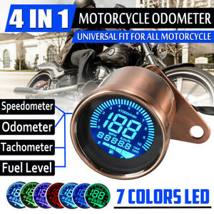 7 Color Universal KM/H MPH Motorcycle LCD Digital Speedometer Motorbike Odometer