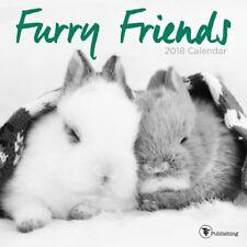 FURRY FRIENDS - 2018 MINI WALL CALENDAR 7x7 - BRAND NEW - CUTE ANIMALS 751304