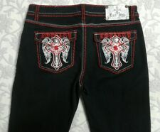 Raw Blue Women's Jeans Black Size 15/16 Red White Embroidery Pockets Skinny Leg