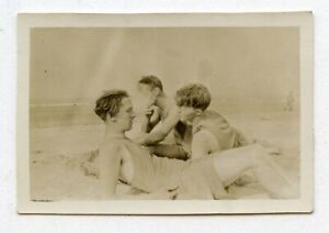 # 9 VINTAGE PHOTO AFFECTIONATE SWIMSUIT BUDDY BOYS MEN AT THE BEACH SNAPSHOT GAY