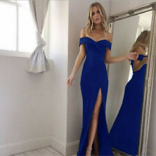 Women Split Off Shoulder Evening Party Prom Bridesmaid Ball Gown Formal Dress US