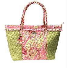Isabella's Journey Green Paisley Quilted Carpet Tote Bag Carryall Beaded Tassel