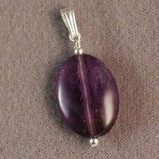 Sterling Silver Natural Amethyst Oval Pendant