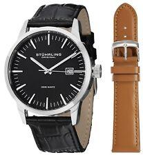 Stuhrling Ascot 42 Men's 42mm Black Calfskin Stainless Steel Case Watch 555A.01