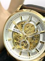 Bulova Men's Watch 97A138 Automatic Skeleton Gold Tone Case Brown Leather Band