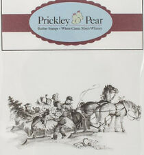 New PRICKLEY PEAR RUBBER STAMP HORSE DRAWN CARRIAGE CHRISTMAS cling Free us shp