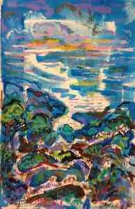 Original Guache Painting by David Sandum The Bay Art Beach Ocean Sea Landscape