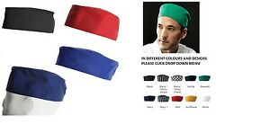 CHEFS SKULL CAP CHEF HAT PROFESSIONAL CATERING CHEF CAP VARIOUS COLOURS & DESIGN