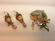 Kirks Folly Dolphin Fairy Brooch Pin And Earrings Lot A38 Beautiful!