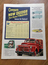 1948 Dodge Trucks Ad Compare New Dodge Job-Rated Trucks Feature for Feature