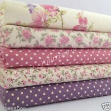 Bundle 5 fat quarters purple polka dot ivory, floral roses mix  100% cotton