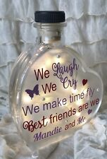 "LED 6"" Glass Light Up Heart Bottle Lamp We Laugh We Cry Best friend And Me GIFT"