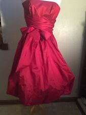 Dress Boned Sash Cummerbund Bubble Hem Holiday Crimson Red Prom Sexy Sweet