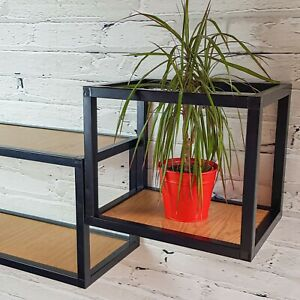 Practical And Modern Floating Cube-Shaped Wall Shelf. Metal frame. 42cm Length.