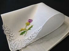 #4990🌟Vintage Purple Thistle Floral Embroidery Fancy Lace Corner Handkerchief