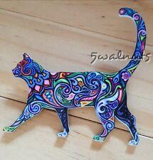 Colourful Cat Cartoon Badge Brooch Pin Blue Acrylic Lapel Jewellery