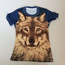 NEW LADIES T SHIRT PRINTED WITH WOLF ARTWORK SIZE SMALL