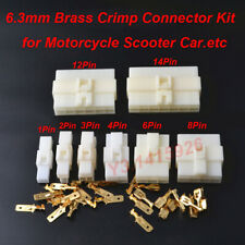 6.3mm 2P/3/4/6/8/12P/14Pin Electrical Connector Plug Kits for Motorcycle Scooter