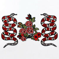 Snake Peony Flower Sew Iron On Patch Badge Clothes Fabric Applique Embroidery
