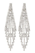 CLIP ON EARRINGS - silver chandelier earring with clear crystals - Canei S