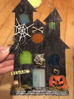 "Cute Hand Painted Mini 8"" Halloween Haunted House w/ Real Stained Glass Windows"