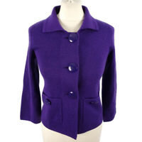 LK Bennett Size XS 8 Purple Fitted Knitted Wool Blend Jacket Retro Casual Winter