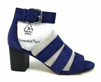 Via Spiga Womens Carys Block Heel Blue Suede Heeled Sandal Size 5.5 M