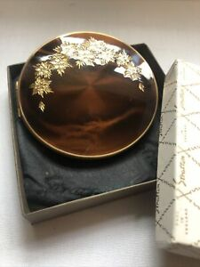 Vintage Stratton Makeup Compact & Mirror Brown Enamel Floral Design With Box