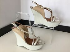 Lanvin Wedge Shoes Size 37 Uk 4 White Patent Leather Platform Silver Nude