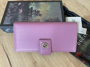 GUCCI Women Wallet Light Pink Leather Long Leather Purse Gold GG Authentic