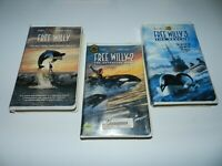 Free Willy Set of 3 VHS Movies Films w/ Clamshells 1 2 3 Set Trilogy