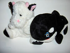 2 Soft Plush *Whale & Cow * puppets -Sea World/Kelly Toy - squeaker in mouth